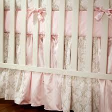 pink and taupe damask 3 piece crib bedding set carousel designs