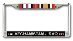 afghanistan ribbon iraq caign with ribbons license plate frame