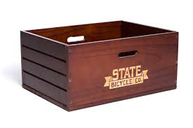 wooden rear crate bike crates baskets racks state bicycle co