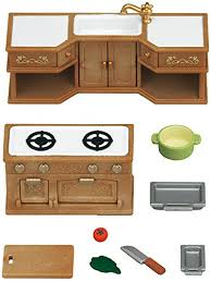 sylvanian families cuisine sylvanian families 5222 stove sink and counter kitchen set