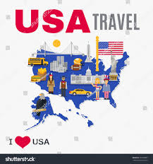Country Map Usa by World Travel Agency Usa Top Tourists Stock Vector 365786897
