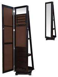 Mirror Armoire Wardrobe Tall Espresso Brown Jewelry Armoire Wardrobe Floor Dressing Mirror