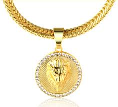 gold medallion necklace images Halukakah quot kings landing quot men 39 s 18k real gold plated lion jpg