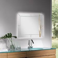 wall mounted bathroom mirror illuminated contemporary