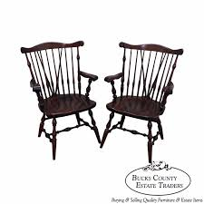 ethan allen solid pine pair of duxbury windsor arm chairs bucks