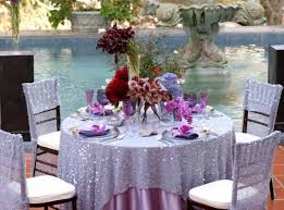 renting tablecloths for weddings lavender purple sparkle wedding reception table cloth purple