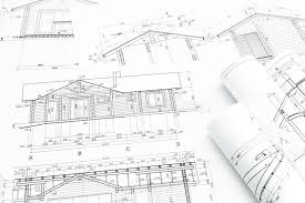 architectural building plans architectural building plans with rolls stock photo image 55454765