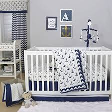Navy Blue And White Crib Bedding Set Anchor Nautical 4 Baby Crib Bedding Set In Navy