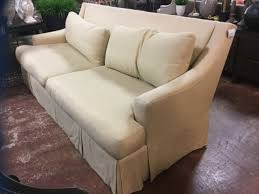 baker sofa cream linen w feather and down cushions consignment
