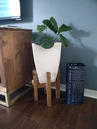 mid century modern plant stand with square legs wood plant