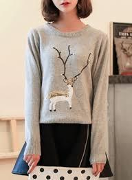 s sleeve deer pullover knit sweater novashe
