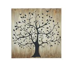 home decor trees 47x47 large black shadow tree birds brown canvas wall art home