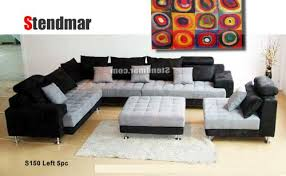 Sectional Sofa Sets 5pc Multifunction 2 Tone Microfiber Big Sectional Sofa