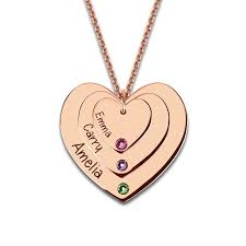 Customized Heart Necklace Online Shop Customized Birthstones Triple Heart Necklace Engraved