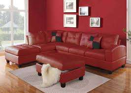 Leather Sectional Sofa With Chaise by Acme Furniture Kiva 51185 Red Bonded Leather Reversible Sectional