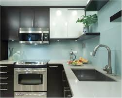 interior kitchen backsplash glass tile as small mirrored design