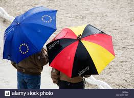 The Germany Flag Umbrellas With Eu Logo And The Colours Of The German Flag Stock