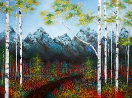 mountain sky aspen trees birch tree painting by canadian