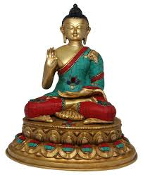 spiritual statues brass buddha statue with beautiful color 13 inches buddha