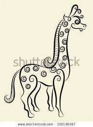 giraffe decorative ornament animal sketch curl stock vector