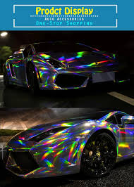 holographic car best quality 3 layers chrome holographic vinyl wrapping rainbow