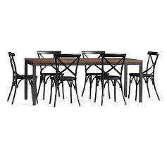Espresso Bistro Table Dining Table 6 Black X Back Bistro Chairs Espresso