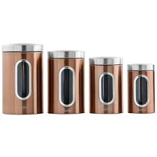 vonshef 4pc copper stainless steel tea coffee sugar window