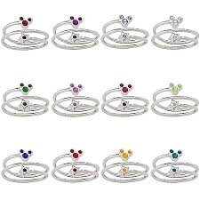 rings with birthstones birthstone ring and mickey mouse silver