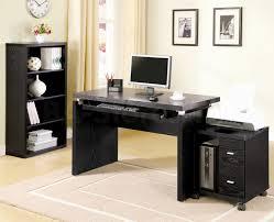 Large Black Computer Desk Corner Solid Black Wooden Computer Desk Mixed Green Wall Color