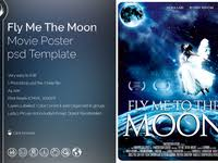 fly me to the moon movie poster template by lionel laboureur