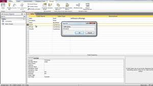 how to create a table in access how to create a table in design view and assigning primary key in