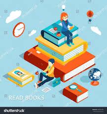 read books concept education study stock vector 264907448