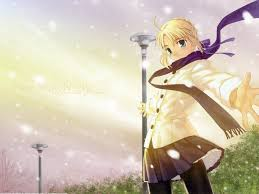 fate stay night saber 4k wallpapers anime girls blonde fatestay night green eyes saber scarfs snow
