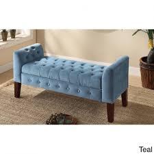 Storage Bench Bedroom Furniture Kinfine Usa Velvet Tufted Settee Storage Bench Walmart Bedroom