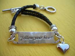 double heart charm bracelet images Leather bracelet antique silver double strand black braid jpg