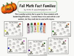free math worksheets fall math fact families free homeschool