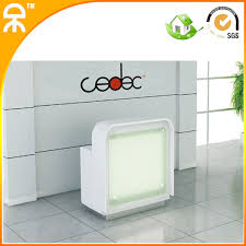 Small Reception Desk 800mm Wide White Small Reception Desk With Led Light Qt0708 In