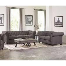 coaster victoria classic button tufted leather sofa set