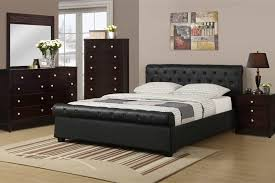 black leather bed frame with espresso furniture the elegance of