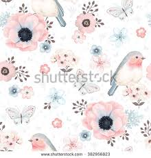 Flowers For Birds And Butterflies - collection vector flowers robin bird butterflies stock vector