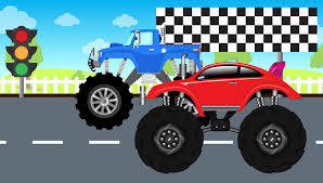 bigfoot presents meteor and the mighty monster trucks red truck vs blue truck monster trucks for kids kiztv youtube