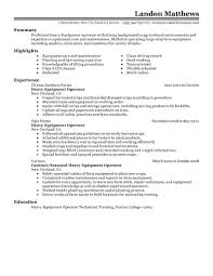 Online Resume Submit by Best Heavy Equipment Operator Resume Example Livecareer
