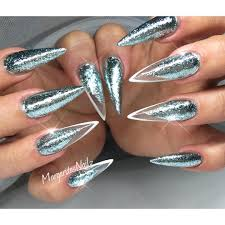 sparkly mint glitter stiletto nails spring summer 2016 nail art