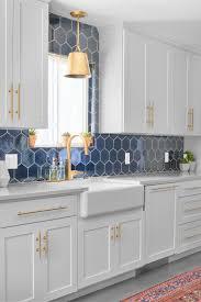 white kitchen cabinets with hexagon backsplash navy blue hex backsplash fireclay tile