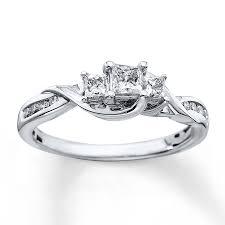 kay jewelers diamond engagement rings kay 3 stone diamond ring 1 2 ct tw princess cut 10k white gold