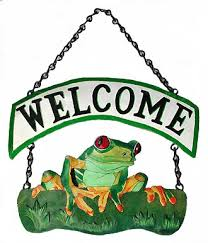 painted metal tree frog welcome sign outdoor decor 10 x 15