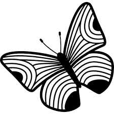 butterfly design of thin stripes wings icons free