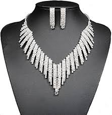 bridal necklace earrings images Wedding bridal jewelry set crystal rhinestone v shape jpg
