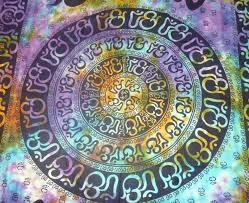 om aum yoga indian chakra tie dye hippie boho indian wall