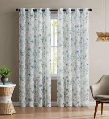 White And Teal Curtains Single Teal And White Sheer Curtain Panel Grommets Floral Design